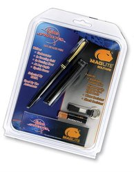 Black Cap-O-Matic Space Pen with a Maglite