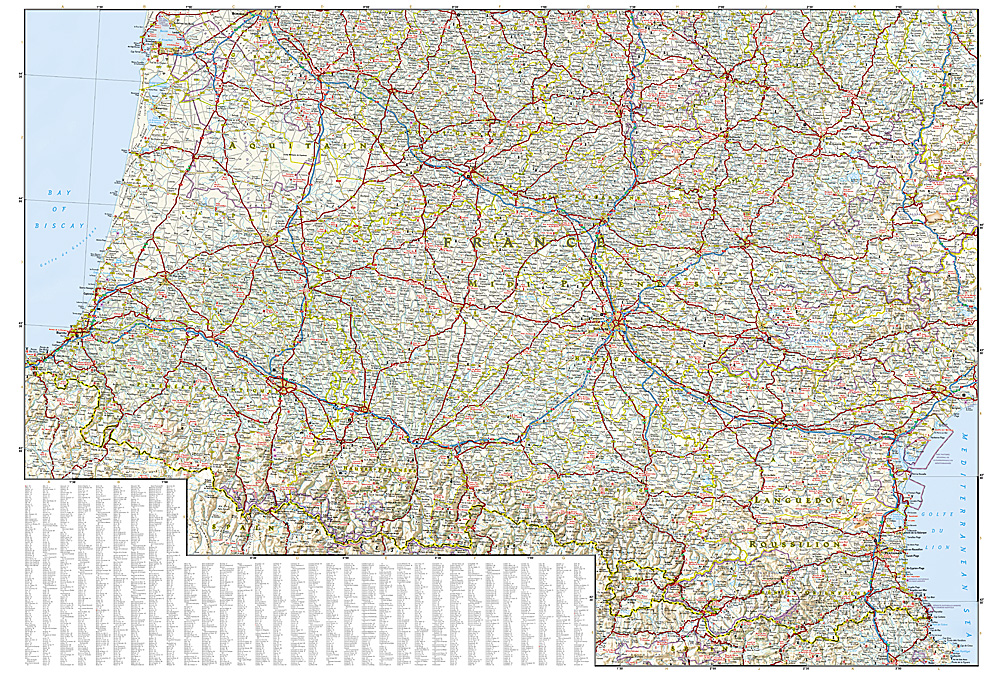 Detailed Map Of Southern France.Adventure Map Southern France 3314 10 95 Trail Explorers