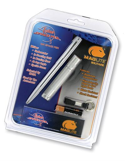 Chrome Plated Cap-O-Matic Space Pen Paired with a Maglite Flashl