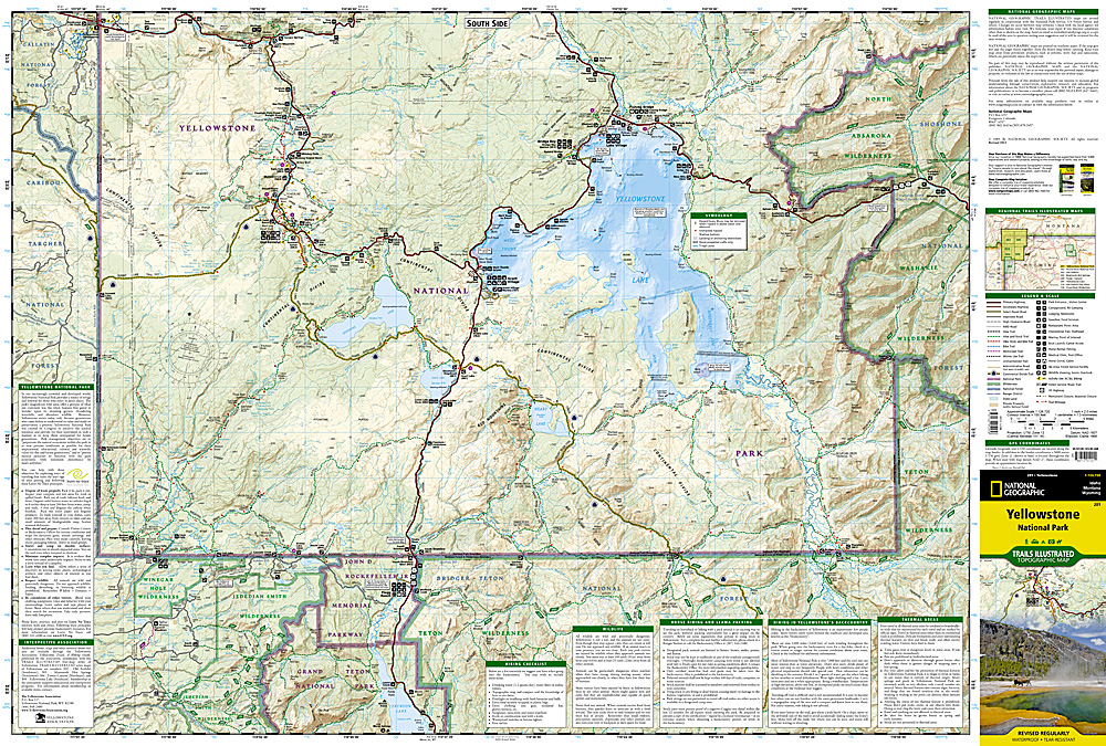 Yellowstone National Park Topographic Map.Yellowstone National Park Map Ti201 10 95 Trail Explorers