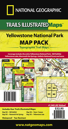 Trails Illustrated Yellowstone Sectional Map Pack Bundle TI - Trails illustrated maps