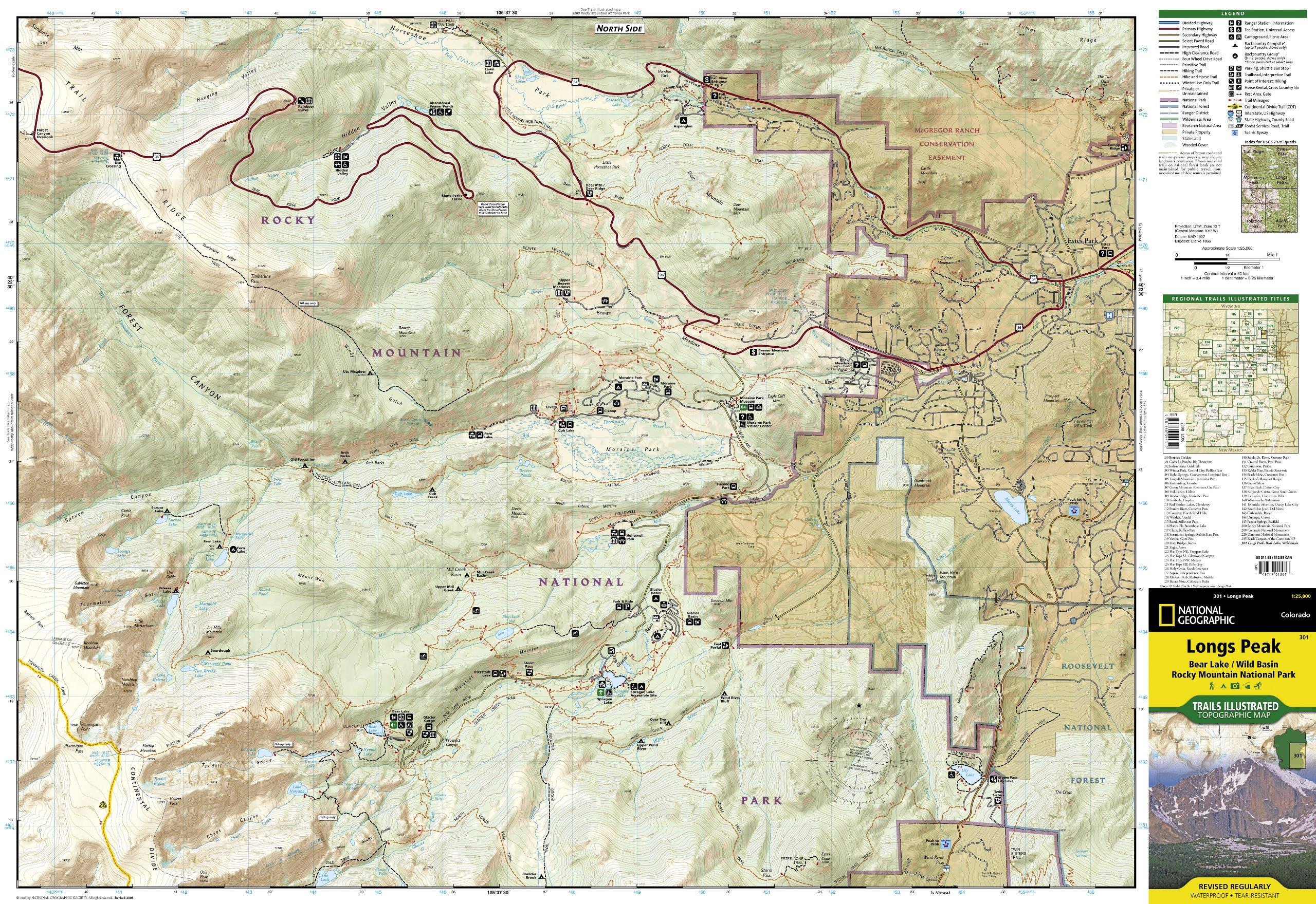Trails Illustrated Longs Peak Bear Lake Rocky Mountain NP ...
