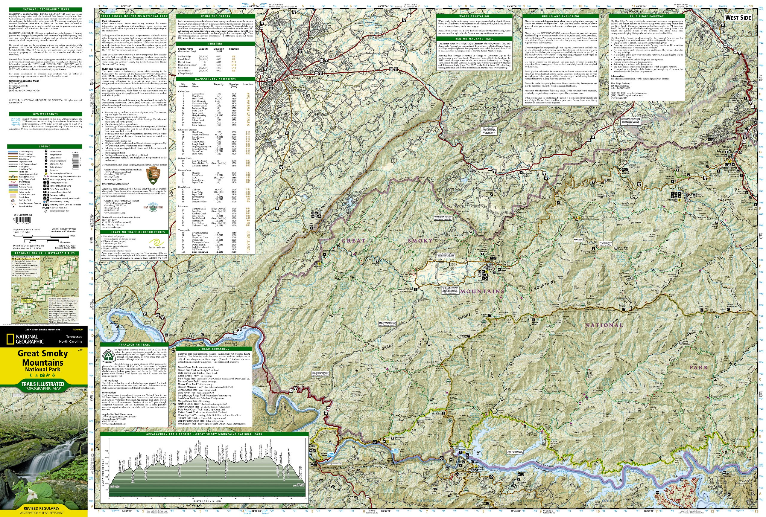 Great Smoky Mountains National Park Map [ti229] - $9.86 : Trail ...
